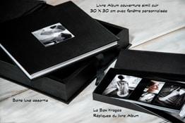 Livre album luxe en simili-cuir 30x30cm sur papier argentique