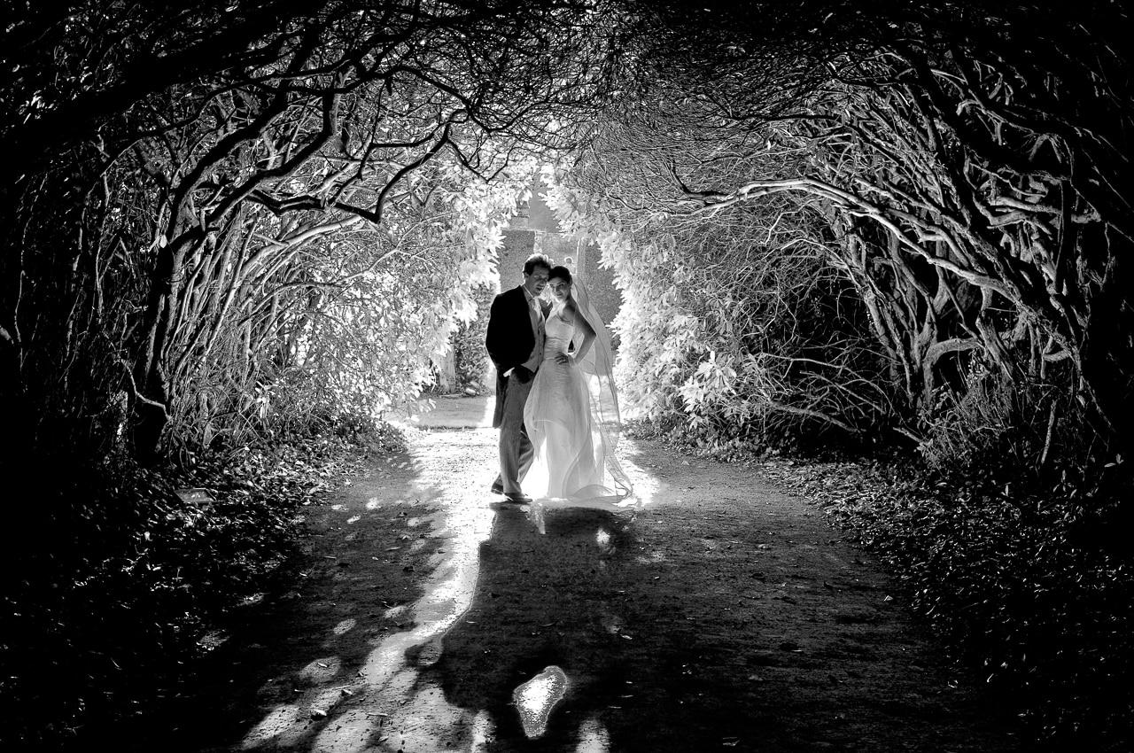 Les mariés sous les arbres du jardin