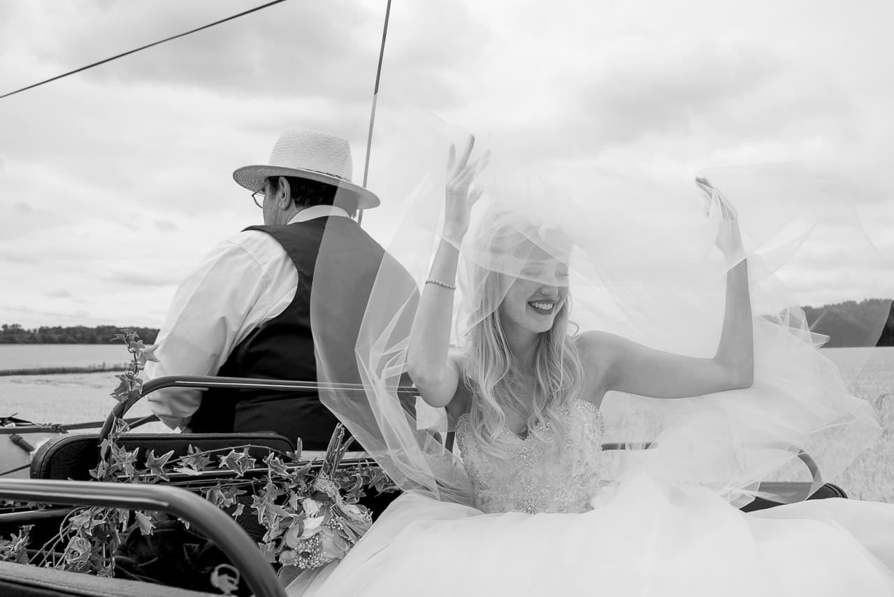 Mariée levant son voile dans la calèche