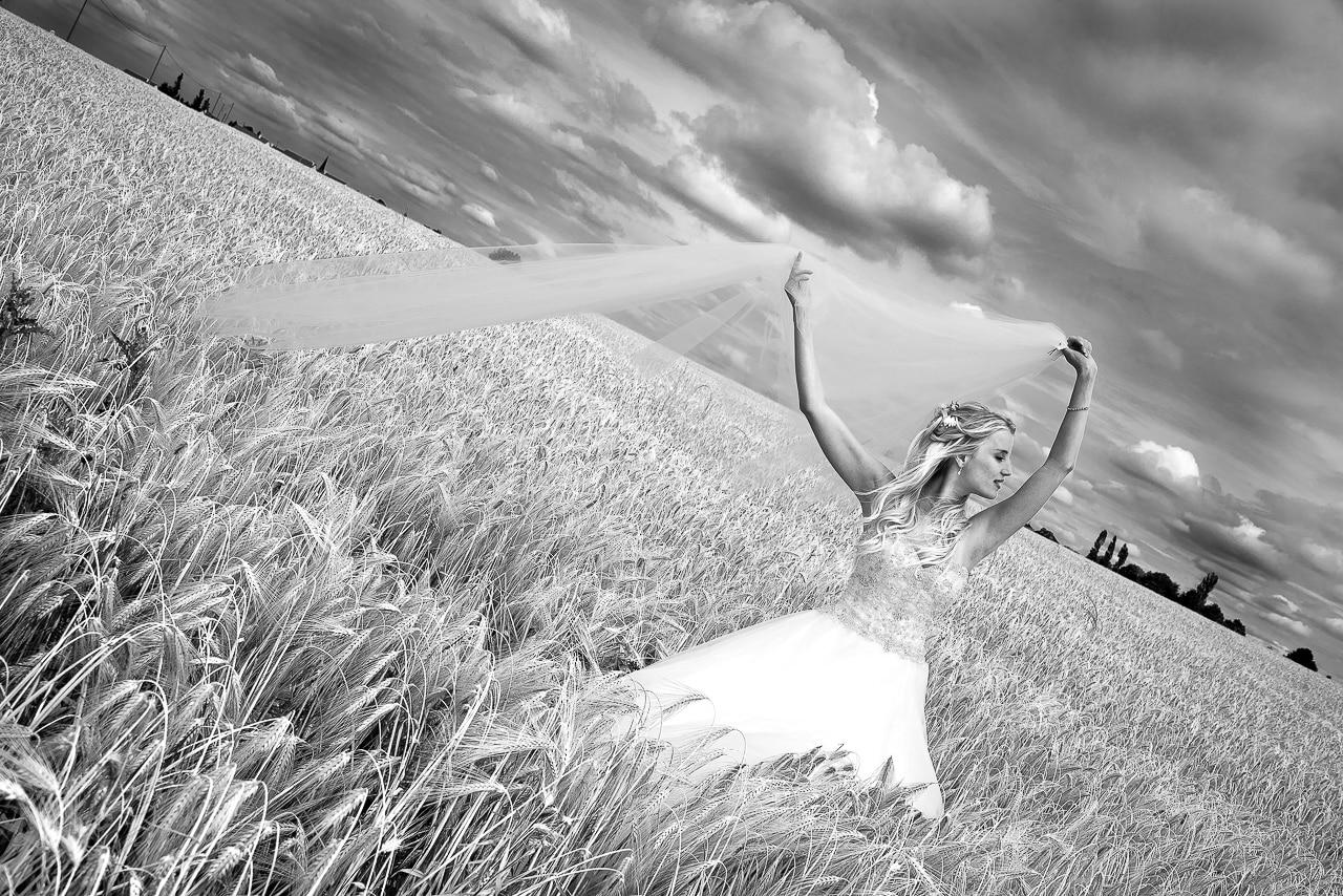 Magnifique portrait de la mariée en noir et blanc dans un champ de blé