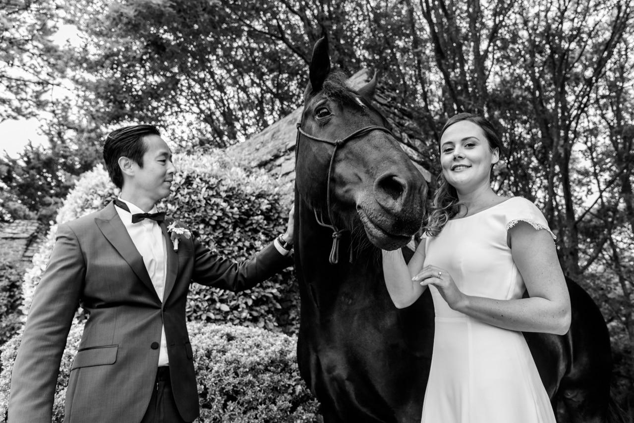 Mariés accompagnés d'un cheval