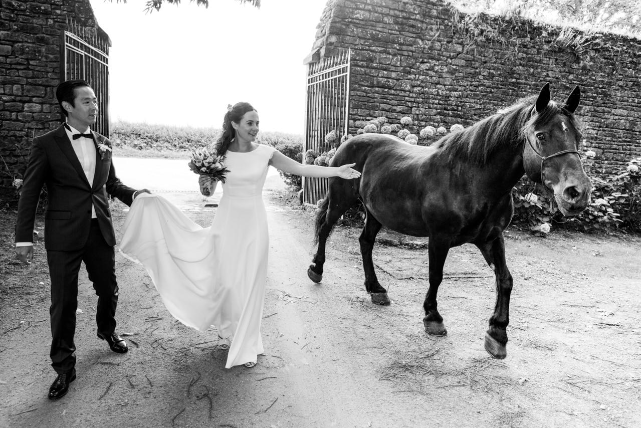 Mariés accompagnés d'un cheval dans une cour