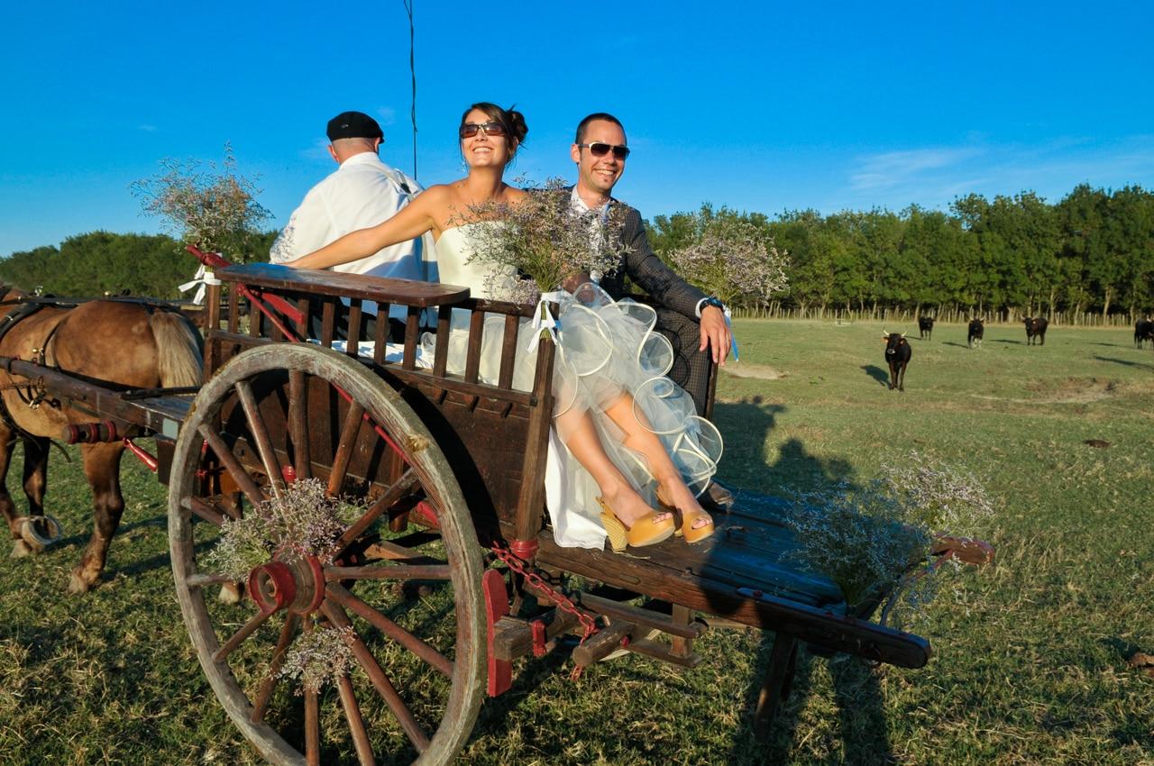 Mariés souriant dans une calèche